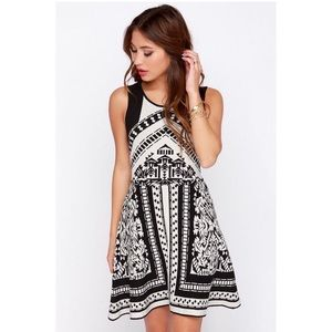 Lush Black and White Print Sweater Dress